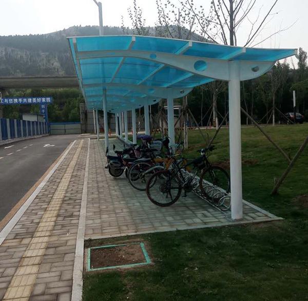 膜结构自行车棚安装